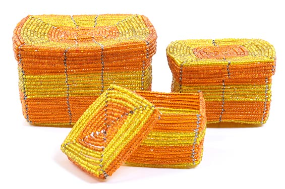 African Basket - Kenya - Set of 3 Square Nesting Boxes - #22006