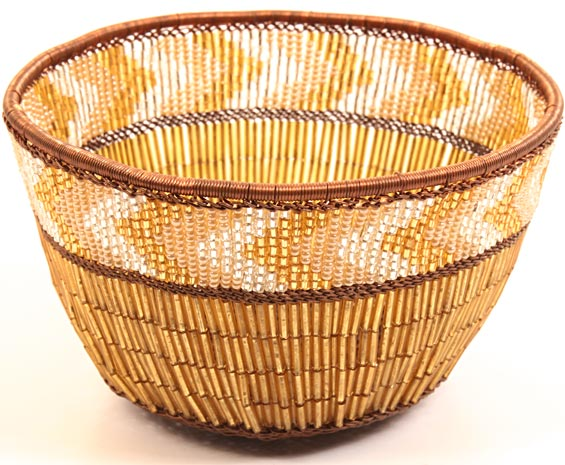 "African Basket - Zulu Copper Beaded Basket - Small Deep Bowl -  4.5"" Across - #25036"