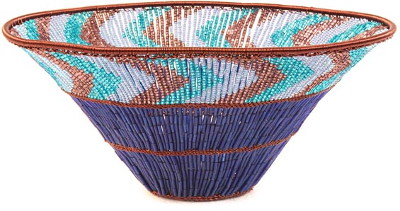 "African Basket - Zulu Copper Beaded Basket - Wide Bowl -  7.5"" Across - #25063"