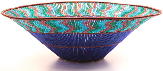 "African Basket - Zulu Copper Beaded Basket - Large Wide Bowl -  9.75"" Across - #25101"