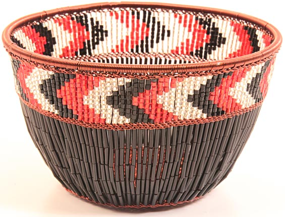 "African Basket - Zulu Copper Beaded Basket - Small Deep Bowl -  4.5"" Across - #25106"