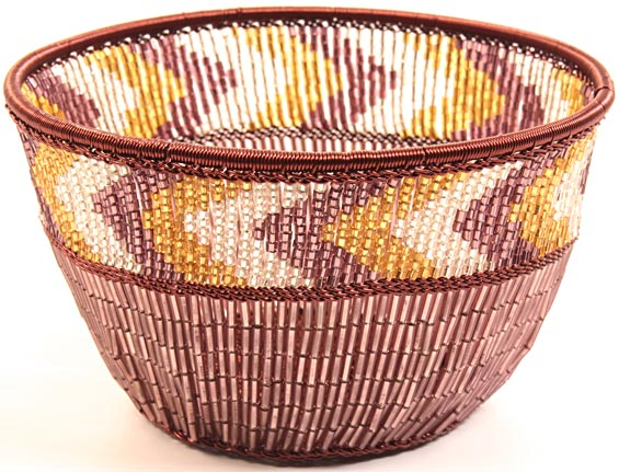 "African Basket - Zulu Copper Beaded Basket - Small Deep Bowl -  4.5"" Across - #25117"
