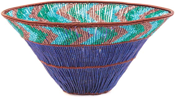 "African Basket - Zulu Copper Beaded Basket - Wide Bowl -  7.5"" Across - #25129"