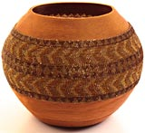 "African Basket - Zulu Copper Beaded Basket - Masterweave Pot -  9.75"" Across - #25182"