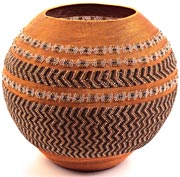 "African Basket - Zulu Copper Beaded Basket - Masterweave Pot - 11.75"" Across - #25187"
