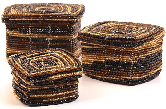 African Basket - Kenya - Set of 3 Square Nesting Boxes - #27211