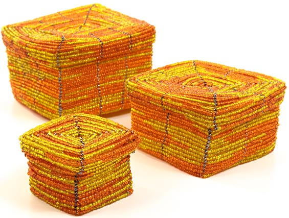 African Basket - Kenya - Set of 3 Square Nesting Boxes - #27827