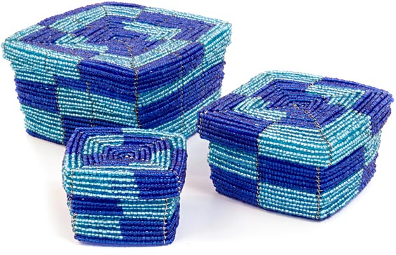 African Basket - Kenya - Set of 3 Square Nesting Boxes - #35918