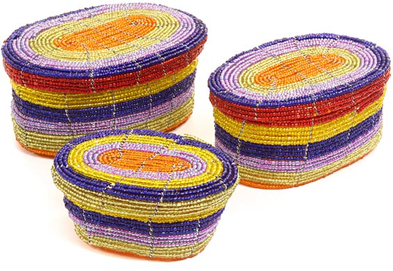 African Basket - Kenya - Set of 3 Oval Nesting Boxes - #43305