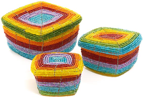 African Basket - Kenya - Set of 3 Square Nesting Boxes - #43308