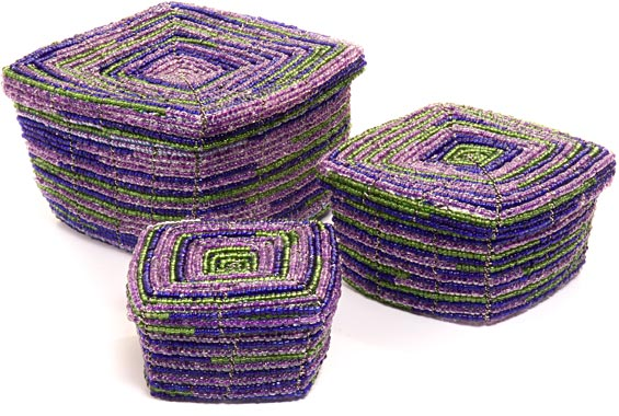 African Basket - Kenya - Set of 3 Square Nesting Boxes - #45803