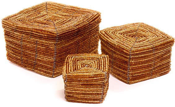 African Basket - Kenya - Set of 3 Square Nesting Boxes - #45804