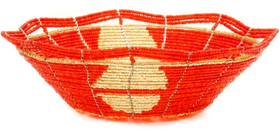 African Basket - Kenya - Beaded Bowl, Small -  6 Inches Across - #49977