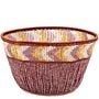 "African Basket - Zulu Copper Beaded Basket - Small Deep Bowl -  4.5"" Across - #49985"