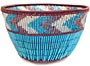 "African Basket - Zulu Copper Beaded Basket - Small Deep Bowl -  4.5"" Across - #50605"