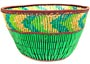 "African Basket - Zulu Copper Beaded Basket - Small Deep Bowl -  4.5"" Across - #50606"