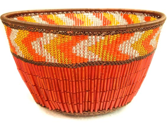 "African Basket - Zulu Copper Beaded Basket - Small Deep Bowl -  4.5"" Across - #50607"