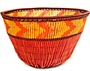 "African Basket - Zulu Copper Beaded Basket - Small Deep Bowl -  4.5"" Across - #50608"
