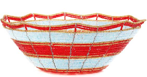 African Basket - Kenya - Beaded Bowl, Medium -  7.75 Inches Across - #54535