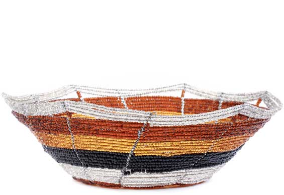 African Basket - Kenya - Beaded Bowl, Small -  6.25 Inches Across - #56699