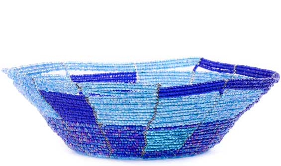 African Basket - Kenya - Beaded Bowl, Small -  6.25 Inches Across - #56701