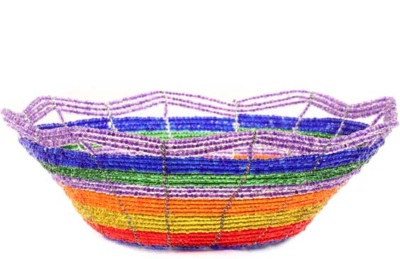 African Basket - Kenya - Beaded Bowl, Small -  6 Inches Across - #60699