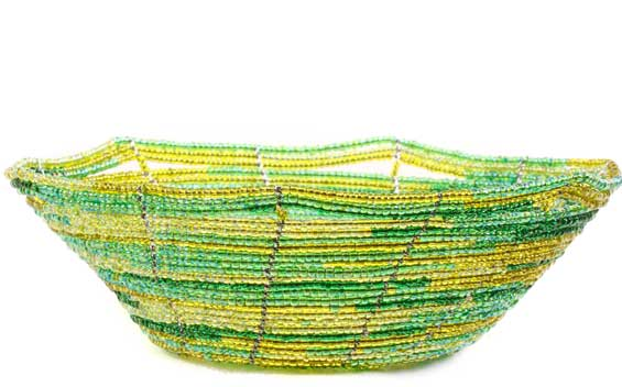 African Basket - Kenya - Beaded Bowl, Small -  6 Inches Across - #60700