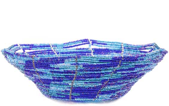 African Basket - Kenya - Beaded Bowl, Small -  6 Inches Across - #60701