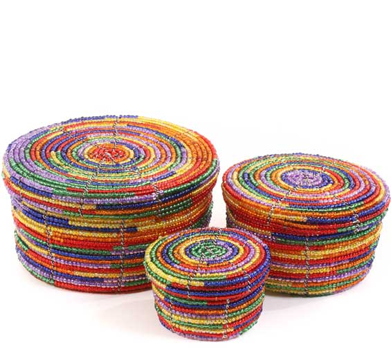 African Basket - Kenya - Set of 3 Round Nesting Boxes - #60702