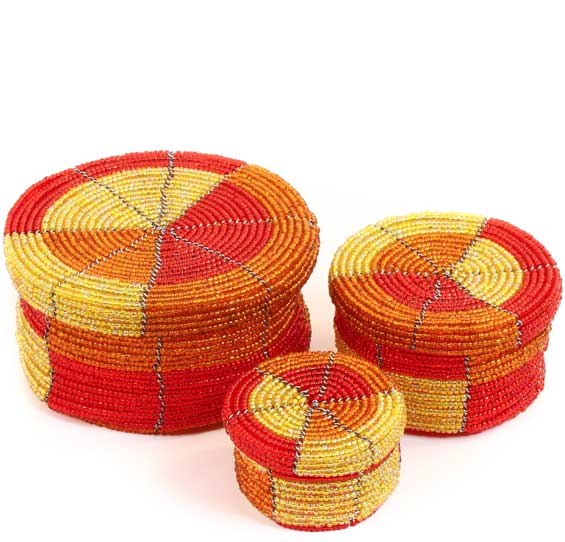 African Basket - Kenya - Set of 3 Round Nesting Boxes - #68199