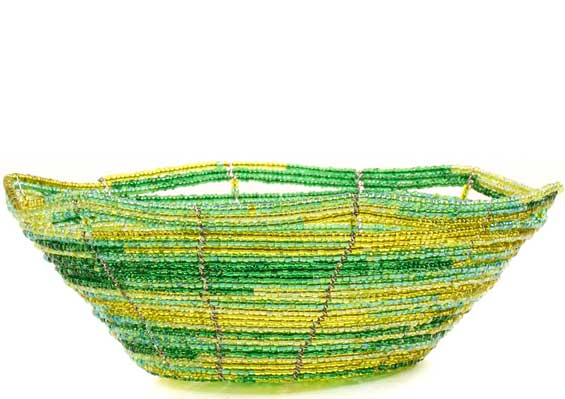 African Basket - Kenya - Beaded Bowl, Small -  6 Inches Across - #68201