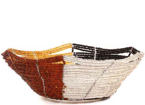 African Basket - Kenya - Beaded Bowl, Small -  6.25 Inches Across - #68202