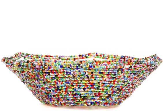 African Basket - Kenya - Beaded Bowl, Small -  6.25 Inches Across - #68205