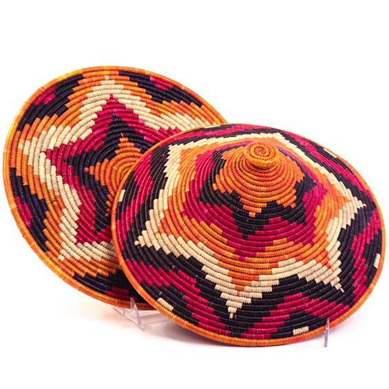 African Basket - Traditional Kuta and Tabaga Set - 14 Inches Across - #25965