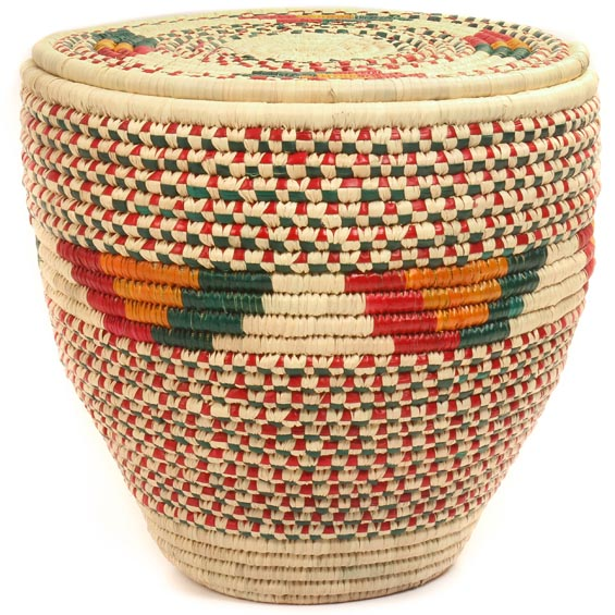 African Basket - Nubian - Canister - 13.5 Inches Across - #47801