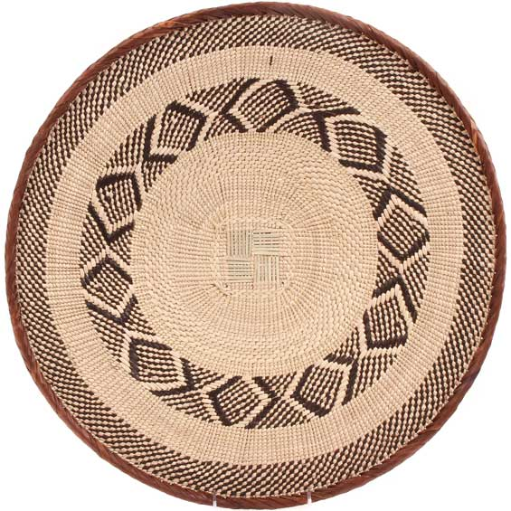African Basket - Tonga - Zimbabwe Binga Basket - 19.75 Inches Across - #64818