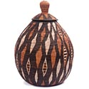 Lidded Masterweave African Basket - Botswana - 15.75 Inches Tall - #48278