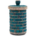 African Basket - Burundi Raffia Coil Weave Canister - 10 Inches Tall - #69288