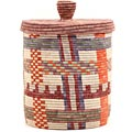 African Basket - Burundi Sisal Coil Weave Canister - 10 Inches Tall - #69472