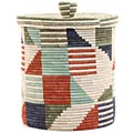 African Basket - Burundi Sisal Coil Weave Canister -  9.25 Inches Tall - #69473