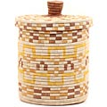 African Basket - Burundi Sisal Coil Weave Canister - 10 Inches Tall - #69477