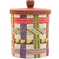 African Basket - Burundi Sisal Coil Weave Canister - 10 Inches Tall - #69478