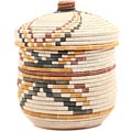 African Basket - Burundi Sisal Coil Weave Canister - 10.25 Inches Tall - #69480