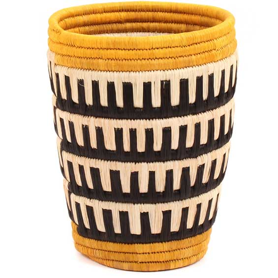 African Basket - Burundi Raffia Coil Weave Vase -  5.75 Inches Tall - #69504