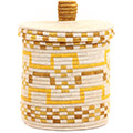 African Basket - Burundi Sisal Coil Weave Canister - 10.25 Inches Tall - #72058