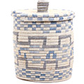 African Basket - Burundi Sisal Coil Weave Canister -  9.5 Inches Tall - #72064