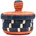 African Basket - Burundi Raffia Coil Weave Canister - 5 Inches Tall - #72127