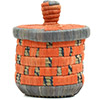 African Basket - Burundi Raffia Coil Weave Canister - 6.75 Inches Tall - #72139