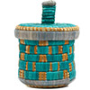 African Basket - Burundi Raffia Coil Weave Canister - 6.75 Inches Tall - #72145