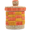 African Basket - Burundi Raffia Coil Weave Canister - 7 Inches Tall - #72148